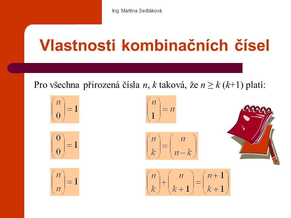 Vlastnosti kombinačních čísel Pro všechna přirozená čísla n, k taková, že n ≥ k (k+1) platí: Ing. Martina Sedláková