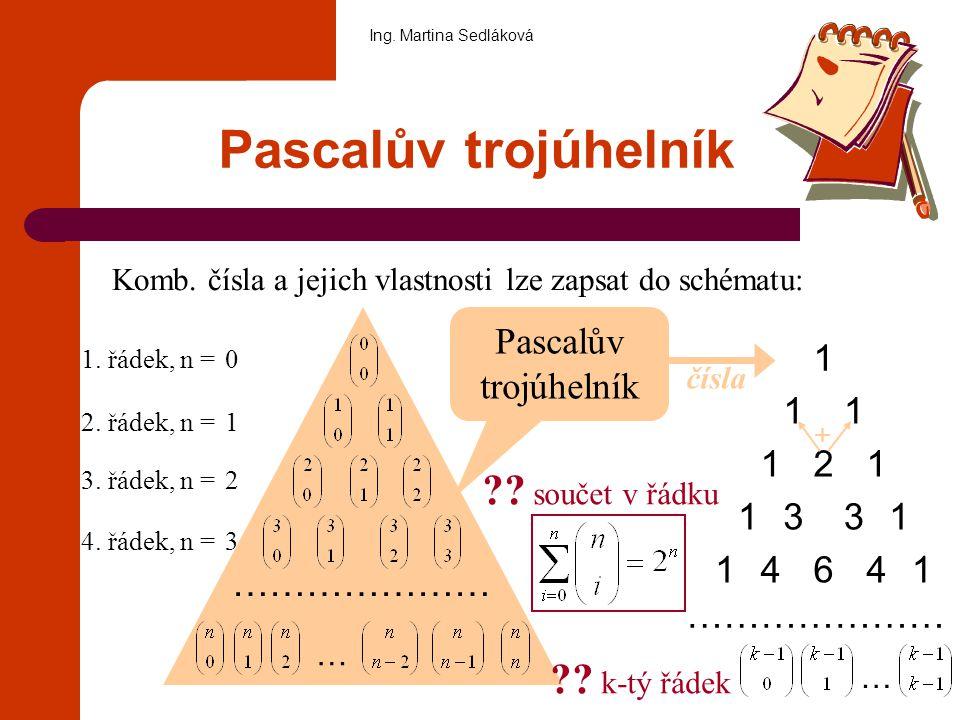 Cvičení: Příklad 1: Napište osmý a desátý řádek Pascalova ∆: Příklad 2: Vyjádřete jediným kombinačním číslem: Příklad 3: V množině přirozených čísel řešte rovnici: Ing.