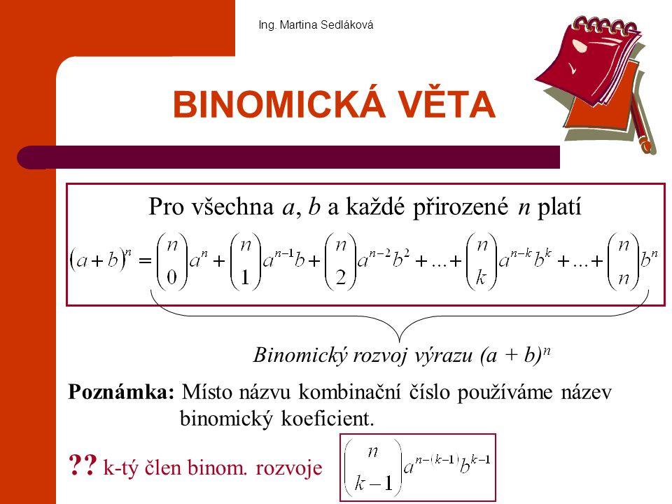 BINOMICKÁ VĚTA Pro všechna a, b a každé přirozené n platí Binomický rozvoj výrazu (a + b) n Poznámka: Místo názvu kombinační číslo používáme název bin
