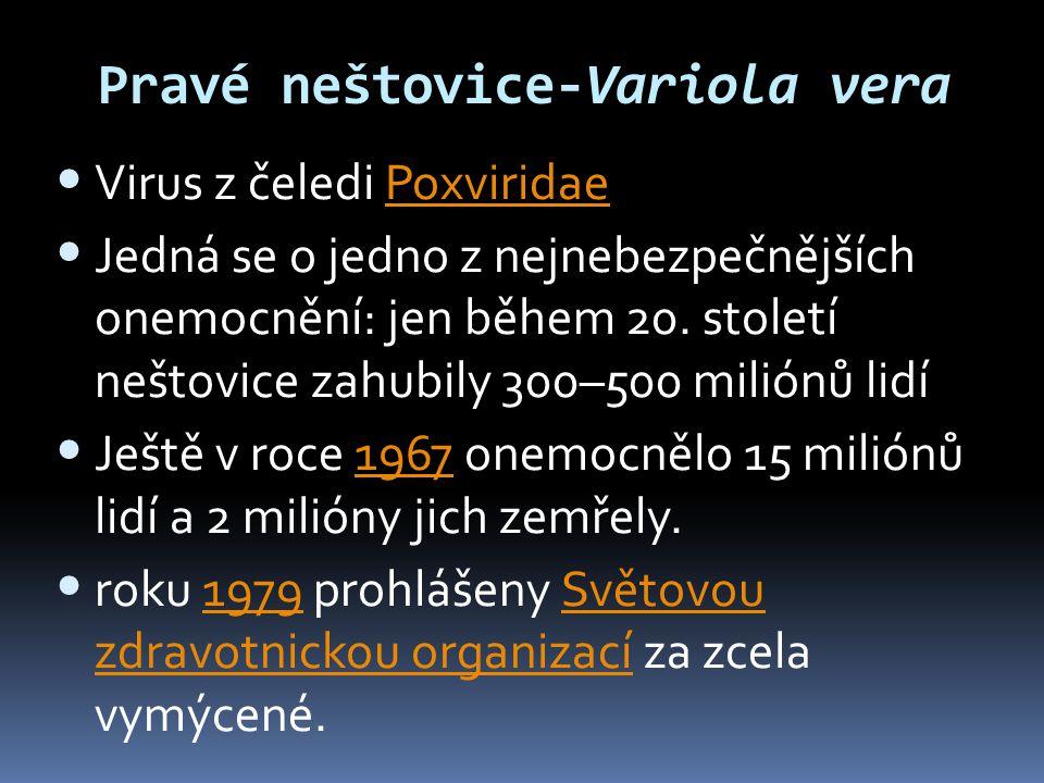 Pravé neštovice-Variola vera • Virus z čeledi PoxviridaePoxviridae • Jedná se o jedno z nejnebezpečnějších onemocnění: jen během 20. století neštovice