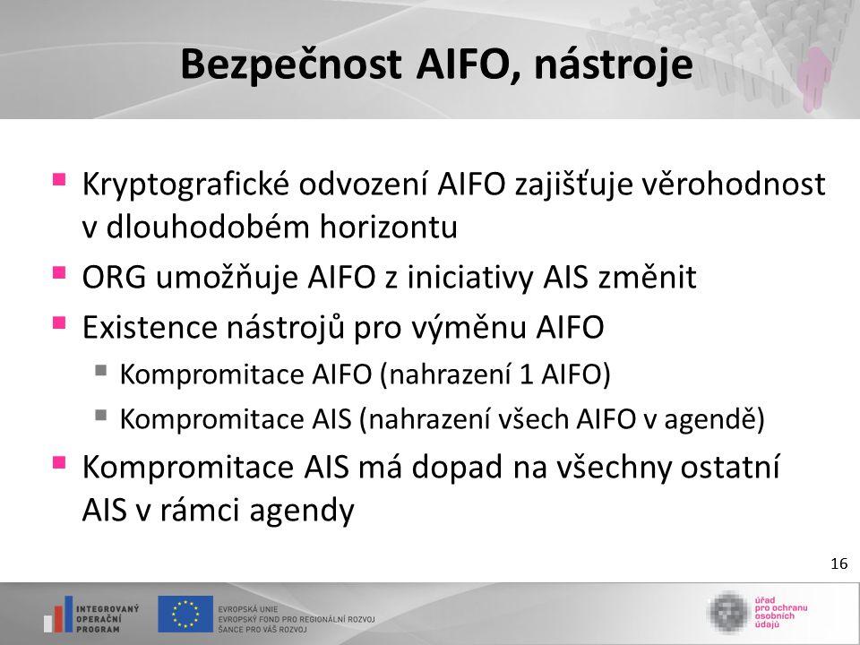 16 Bezpečnost AIFO, nástroje  Kryptografické odvození AIFO zajišťuje věrohodnost v dlouhodobém horizontu  ORG umožňuje AIFO z iniciativy AIS změnit