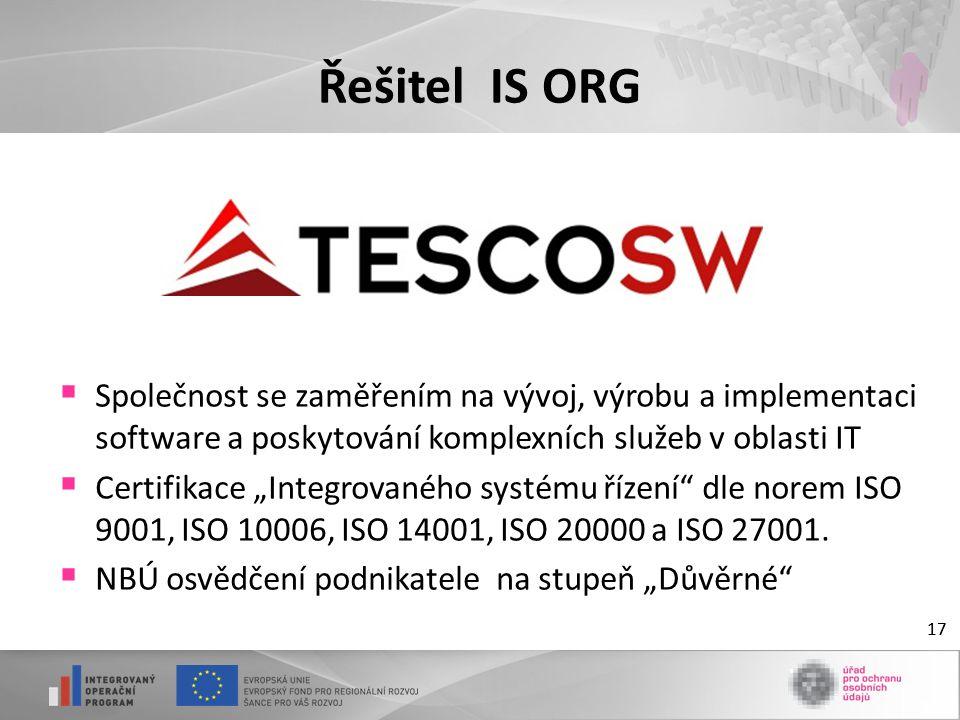 """17 Řešitel IS ORG  Společnost se zaměřením na vývoj, výrobu a implementaci software a poskytování komplexních služeb v oblasti IT  Certifikace """"Inte"""