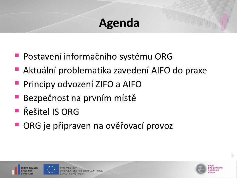 2 Agenda  Postavení informačního systému ORG  Aktuální problematika zavedení AIFO do praxe  Principy odvození ZIFO a AIFO  Bezpečnost na prvním mí
