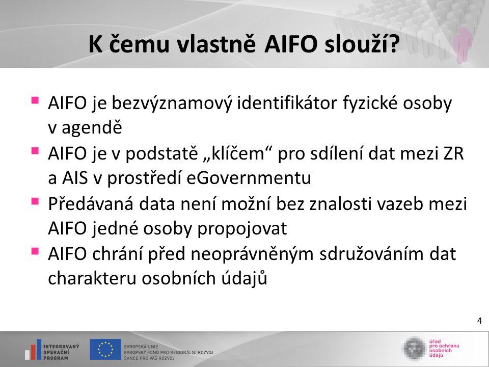 """4 K čemu vlastně AIFO slouží?  AIFO je bezvýznamový identifikátor fyzické osoby v agendě  AIFO je v podstatě """"klíčem"""" pro sdílení dat mezi ZR a AIS"""