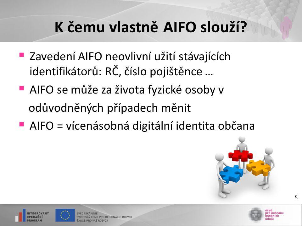 5 K čemu vlastně AIFO slouží?  Zavedení AIFO neovlivní užití stávajících identifikátorů: RČ, číslo pojištěnce …  AIFO se může za života fyzické osob