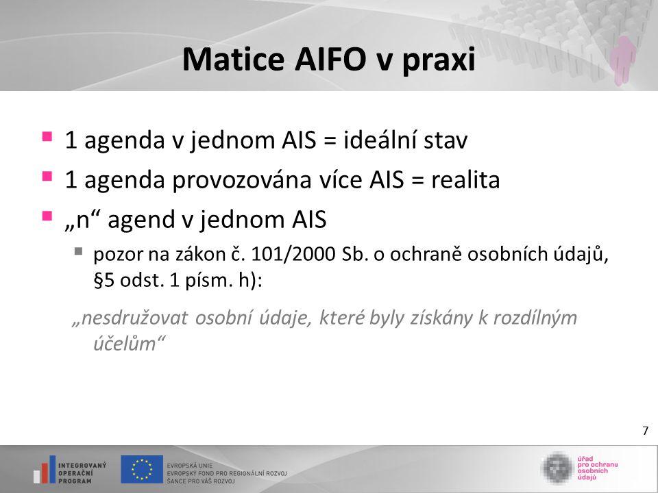 """7 Matice AIFO v praxi  1 agenda v jednom AIS = ideální stav  1 agenda provozována více AIS = realita  """"n"""" agend v jednom AIS  pozor na zákon č. 10"""
