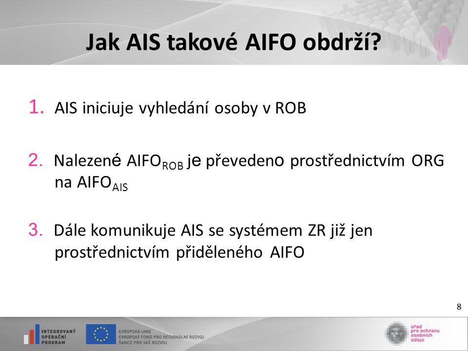 8 Jak AIS takové AIFO obdrží? 1. AIS iniciuje vyhledání osoby v ROB 2. Nalezen é AIFO ROB j e převeden o prostřednictvím ORG na AIFO AIS 3. Dále komun