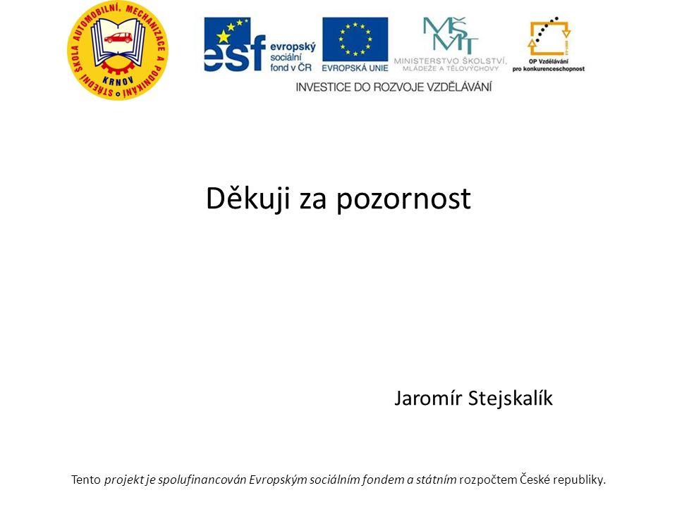 Děkuji za pozornost Jaromír Stejskalík Tento projekt je spolufinancován Evropským sociálním fondem a státním rozpočtem České republiky.