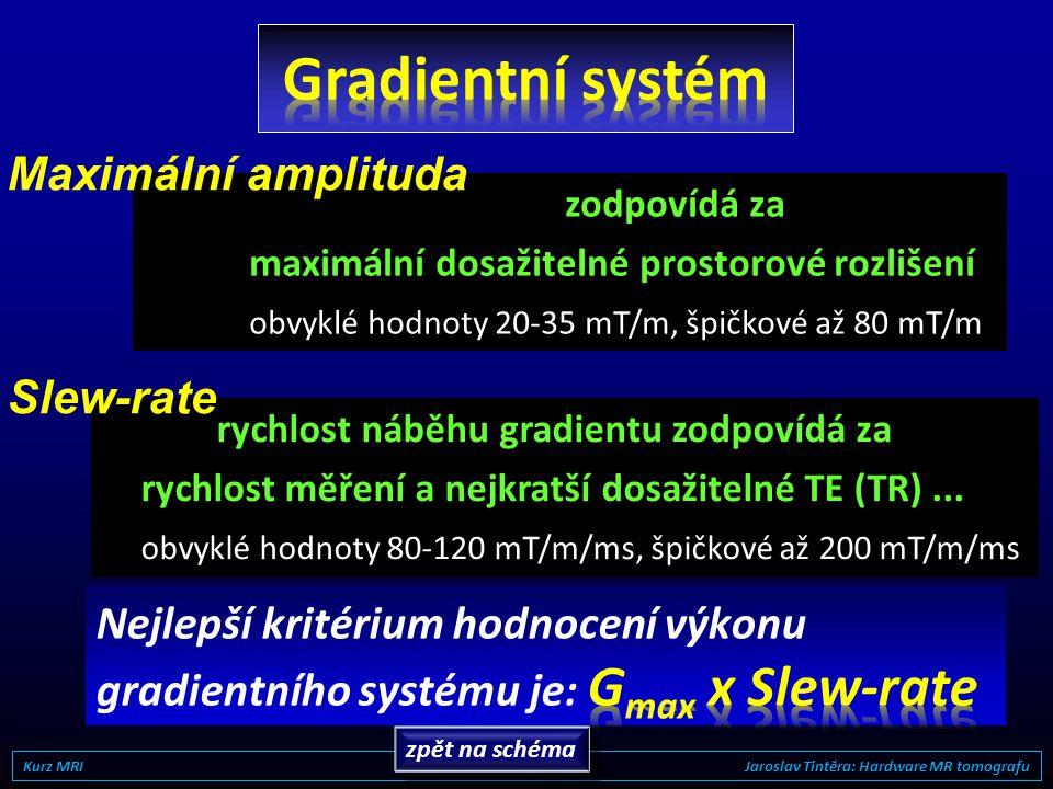 oblast linearity vyšetřovací oblast 2 zásadní parametry gradientního systému: 1) Maximální amplituda (mT/m) 2) Slew-rate (mT/m/ms) Kurz MRI Jaroslav T