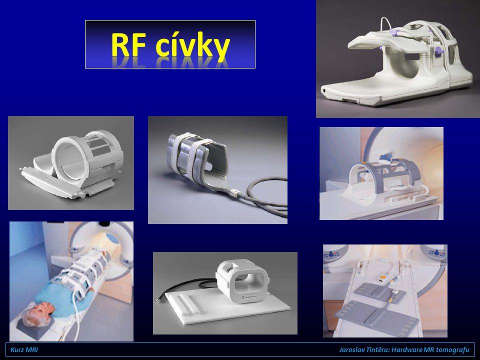 RF vysílač (digitální) RF přijímač (digitální) Systém je naladěn na Larmorovu frekvenci tedy přibližně v oblasti VKV rádia vysílací RF cívka přijímací