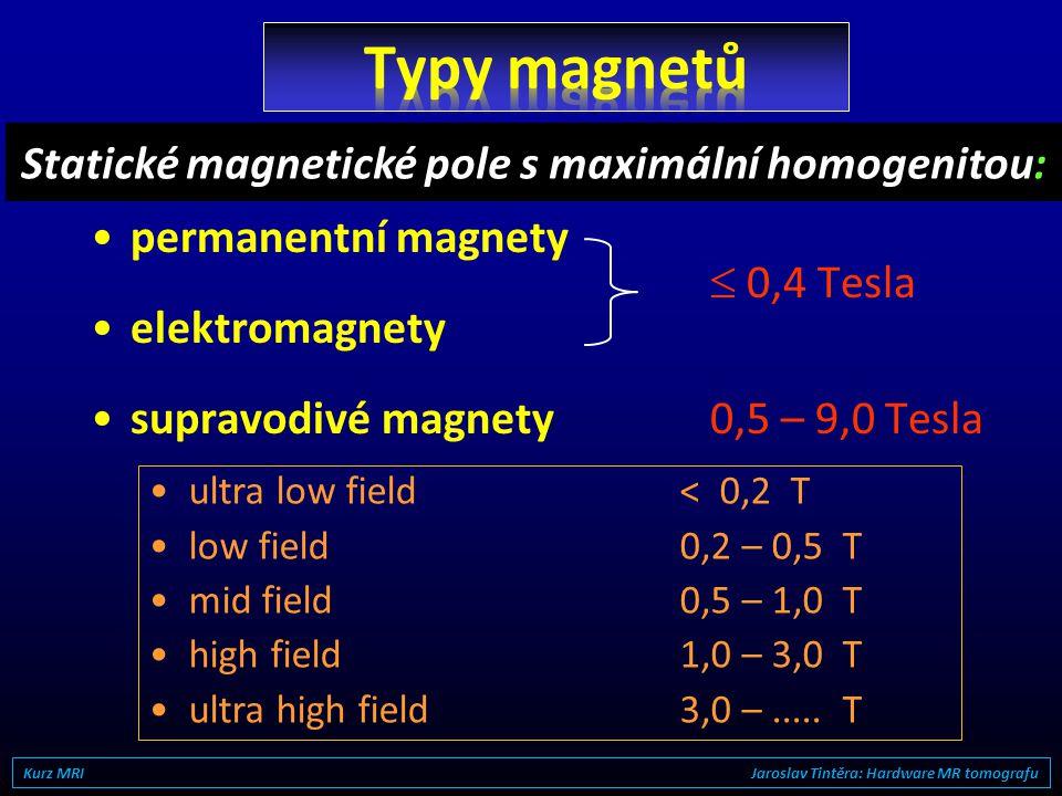 Kurz MRI Jaroslav Tintěra: Hardware MR tomografu supravodivý magnet gradientní cívky X, Y, Z pacientské lůžko Body RF cívka (transmisní) head RF cívka