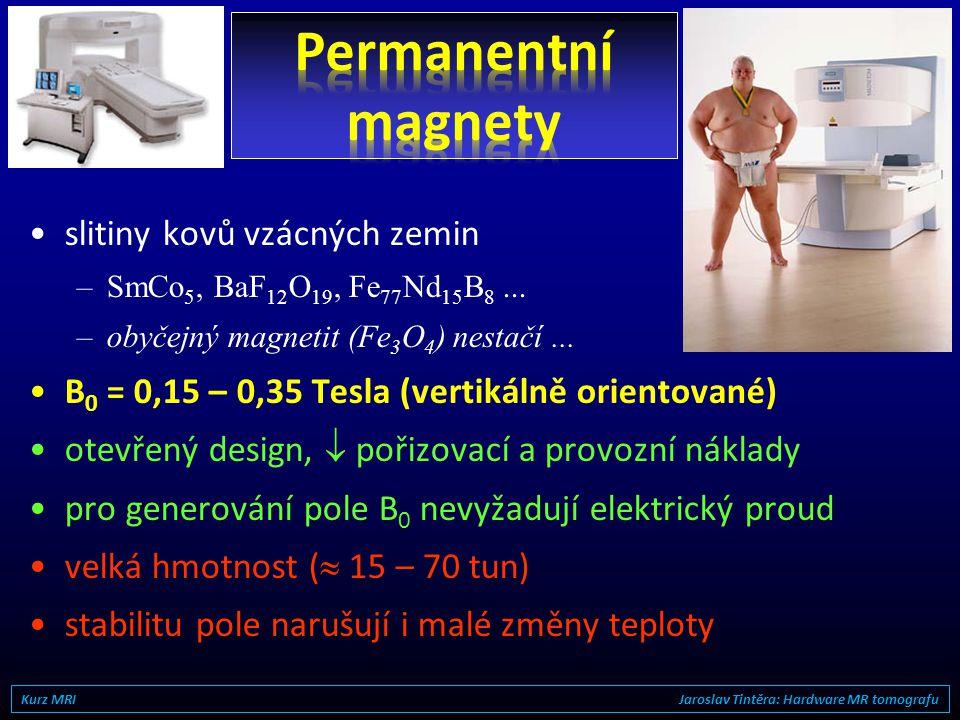 •permanentní magnety  0,4 Tesla •elektromagnety •supravodivé magnety0,5 – 9,0 Tesla •ultra low field < 0,2 T •low field 0,2 – 0,5 T •mid field0,5 – 1
