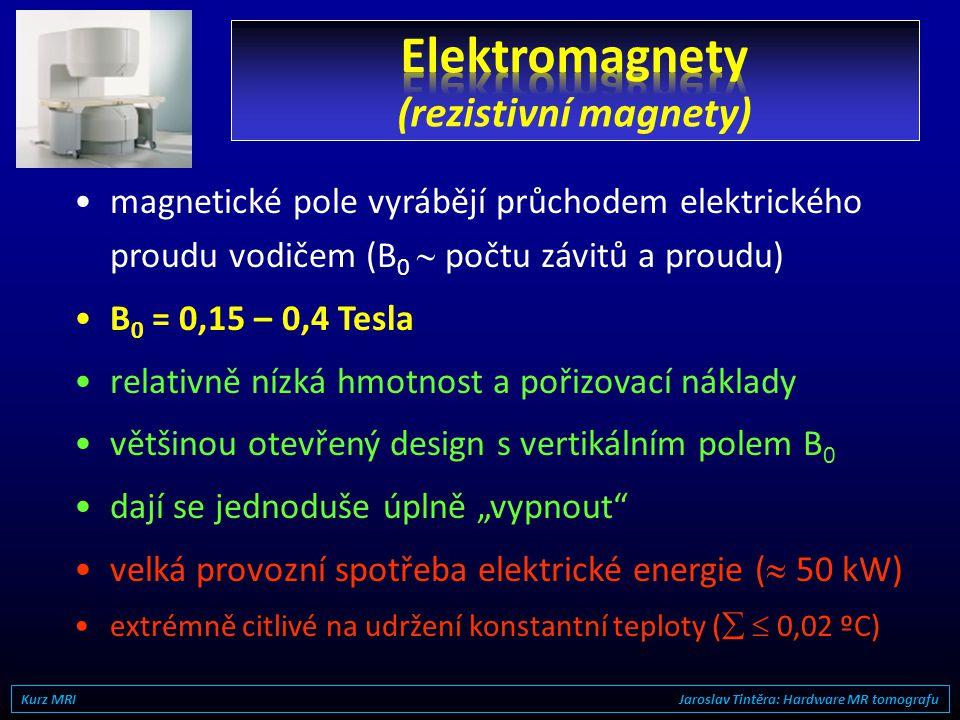 •slitiny kovů vzácných zemin –SmCo 5, BaF 12 O 19, Fe 77 Nd 15 B 8... –obyčejný magnetit (Fe 3 O 4 ) nestačí... •B 0 = 0,15 – 0,35 Tesla (vertikálně o