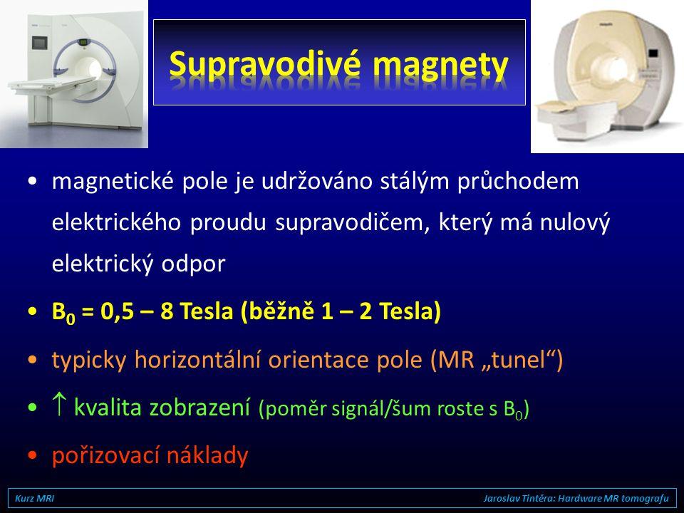 •magnetické pole vyrábějí průchodem elektrického proudu vodičem (B 0  počtu závitů a proudu) •B 0 = 0,15 – 0,4 Tesla •relativně nízká hmotnost a poři