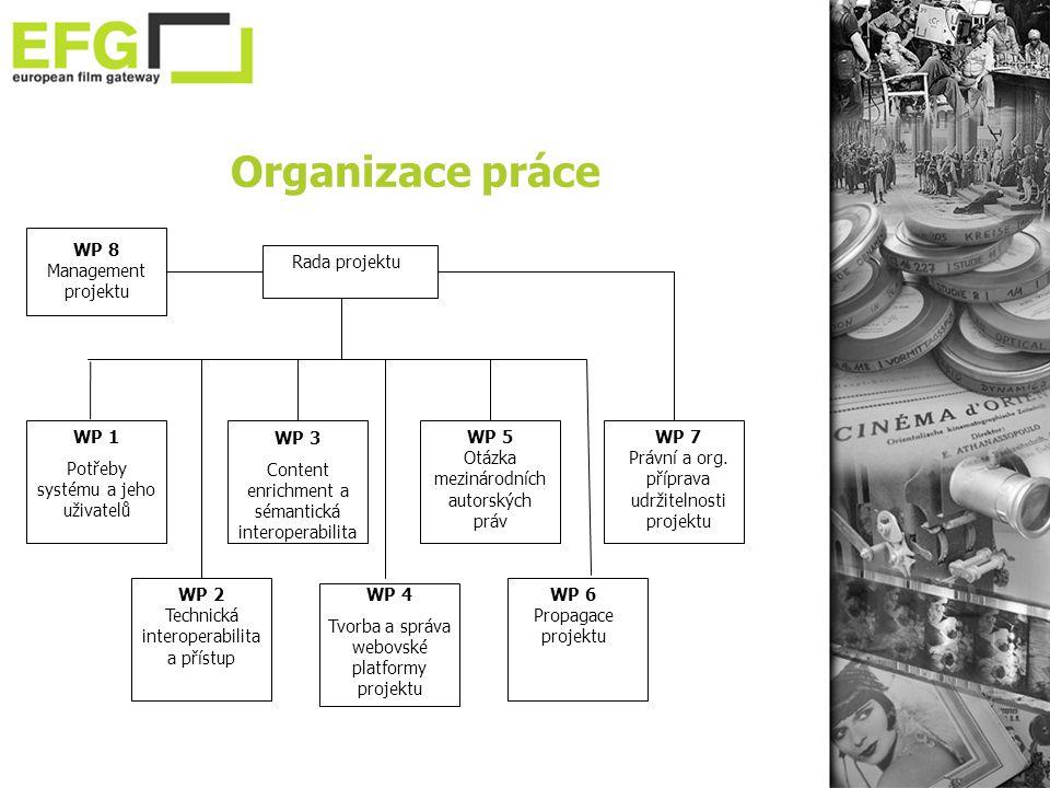 Organizace práce WP 8 Management projektu Rada projektu WP 7 Právní a org.