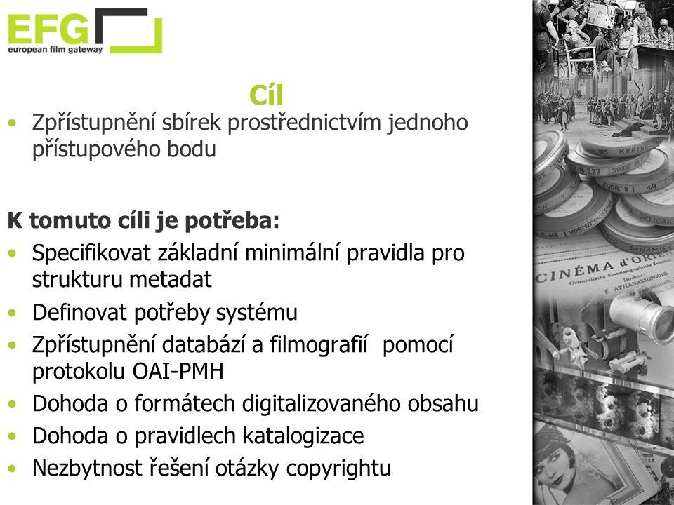 Cíl •Zpřístupnění sbírek prostřednictvím jednoho přístupového bodu K tomuto cíli je potřeba: •Specifikovat základní minimální pravidla pro strukturu metadat •Definovat potřeby systému •Zpřístupnění databází a filmografií pomocí protokolu OAI-PMH •Dohoda o formátech digitalizovaného obsahu •Dohoda o pravidlech katalogizace •Nezbytnost řešení otázky copyrightu