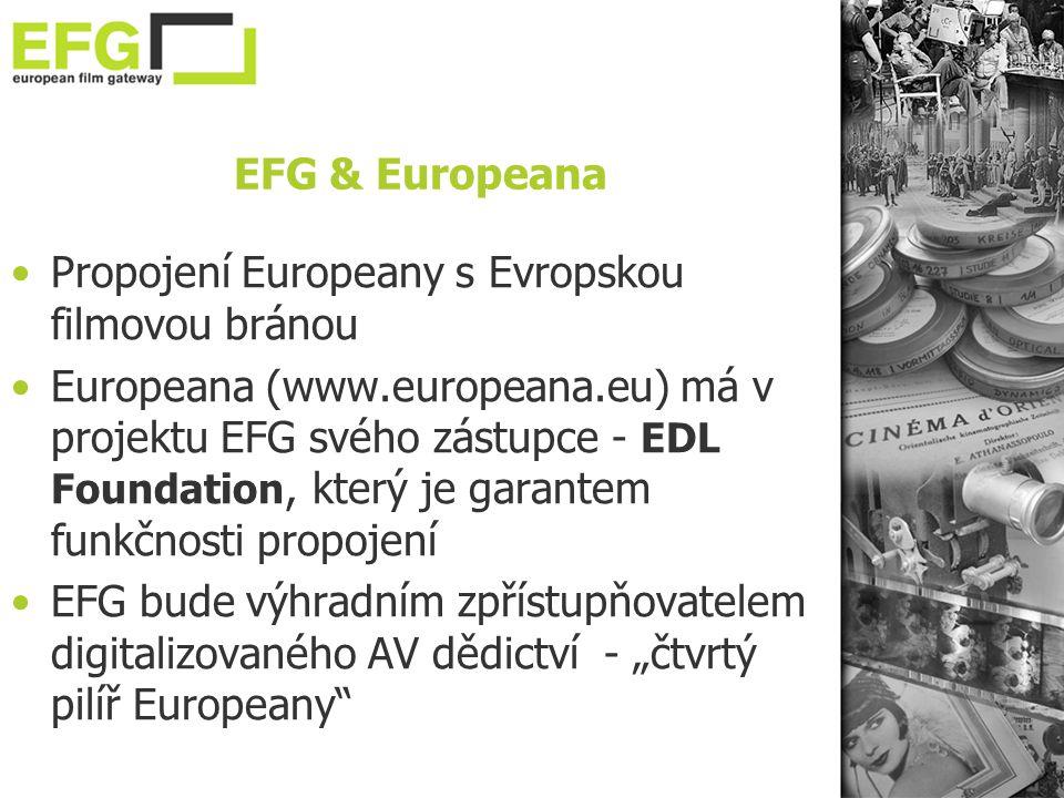"""EFG & Europeana •Propojení Europeany s Evropskou filmovou bránou •Europeana (www.europeana.eu) má v projektu EFG svého zástupce - EDL Foundation, který je garantem funkčnosti propojení •EFG bude výhradním zpřístupňovatelem digitalizovaného AV dědictví - """"čtvrtý pilíř Europeany"""