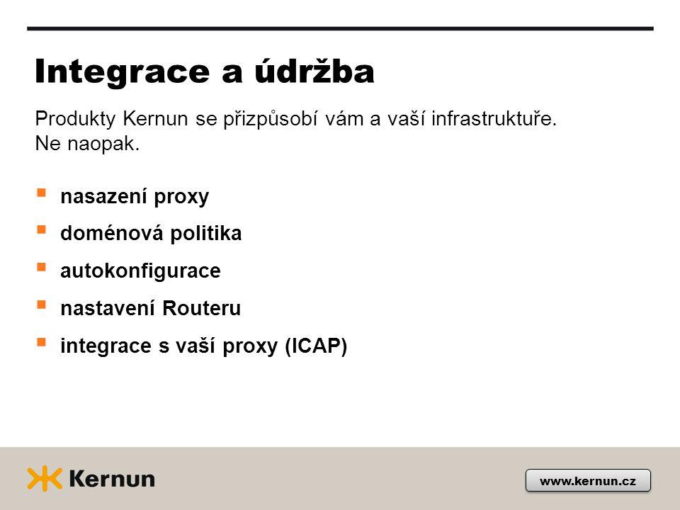 www.kernun.cz Integrace a údržba  nasazení proxy  doménová politika  autokonfigurace  nastavení Routeru  integrace s vaší proxy (ICAP) Produkty Kernun se přizpůsobí vám a vaší infrastruktuře.