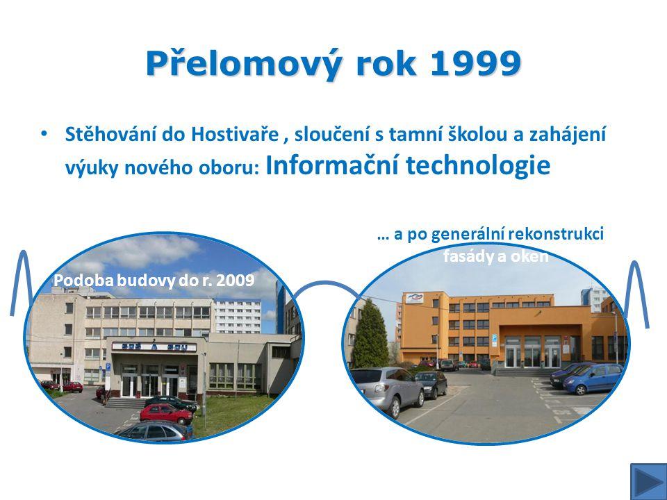 Přelomový rok 1999 • Stěhování do Hostivaře, sloučení s tamní školou a zahájení výuky nového oboru: Informační technologie Podoba budovy do r. 2009 …