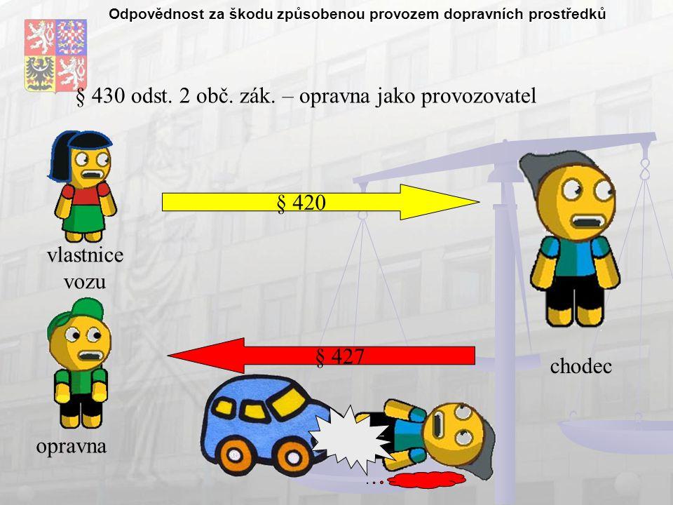 Odpovědnost za škodu způsobenou provozem dopravních prostředků § 430 odst.