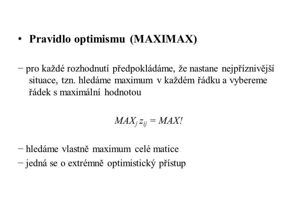 • Pravidlo optimismu (MAXIMAX) − pro každé rozhodnutí předpokládáme, že nastane nejpříznivější situace, tzn. hledáme maximum v každém řádku a vybereme