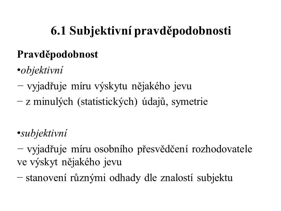 Vyjádření subjektivních pravděpodobností • číselné − přímé: 0 ≤ p ≤ 1 − poměr: m/n (m případů z n možných) − poměr sázek (šancí): p/q=p/1−p • slovní − např.