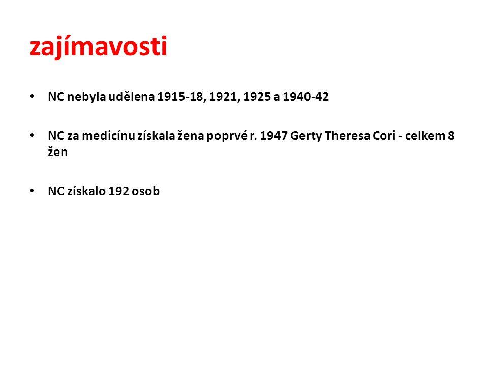 zajímavosti • NC nebyla udělena 1915-18, 1921, 1925 a 1940-42 • NC za medicínu získala žena poprvé r. 1947 Gerty Theresa Cori - celkem 8 žen • NC získ