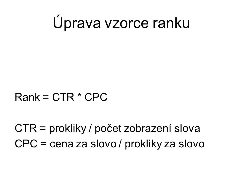 Úprava vzorce ranku Rank = CTR * CPC CTR = prokliky / počet zobrazení slova CPC = cena za slovo / prokliky za slovo
