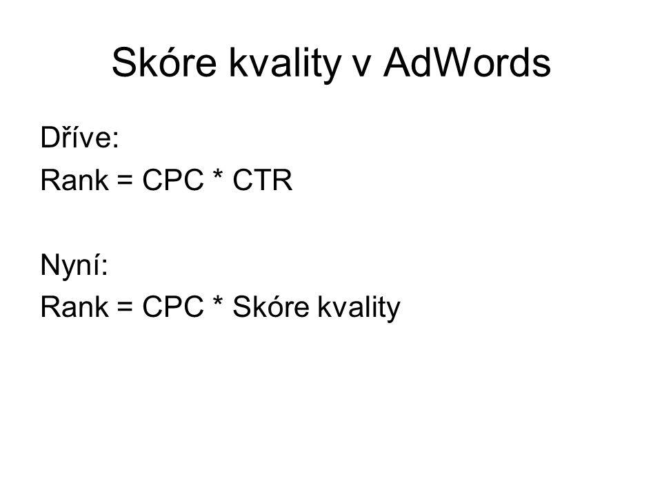 Skóre kvality v AdWords Dříve: Rank = CPC * CTR Nyní: Rank = CPC * Skóre kvality