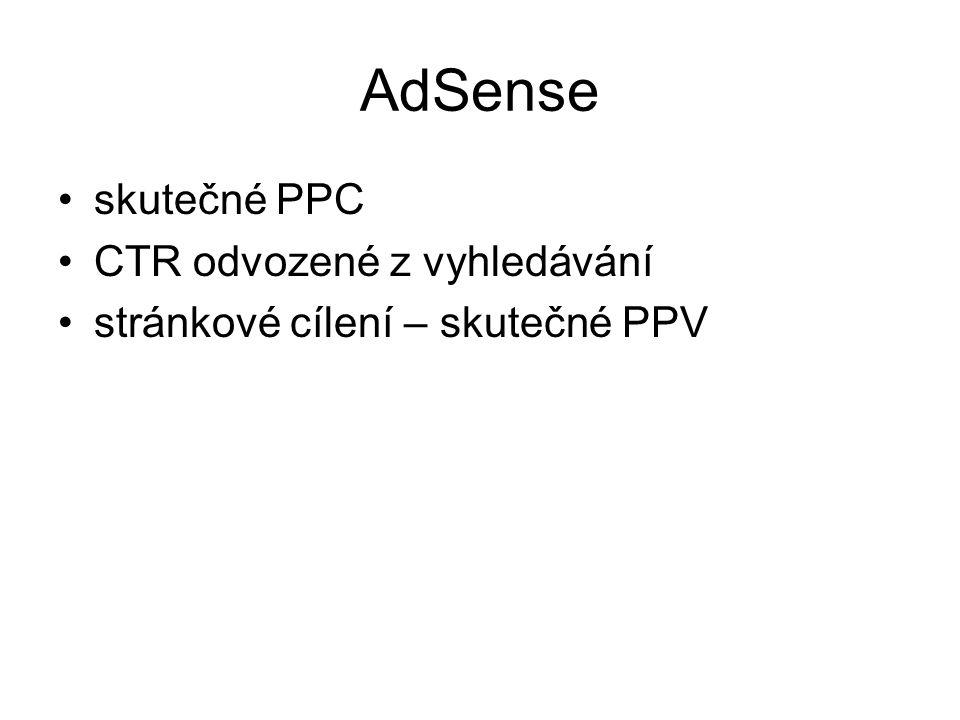 AdSense •skutečné PPC •CTR odvozené z vyhledávání •stránkové cílení – skutečné PPV