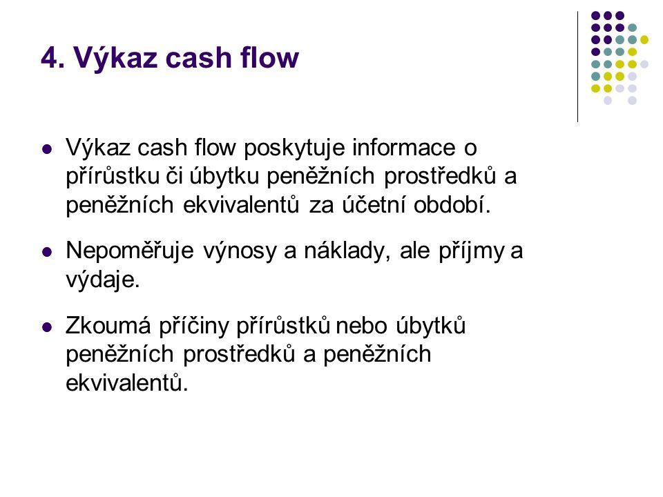 4. Výkaz cash flow  Výkaz cash flow poskytuje informace o přírůstku či úbytku peněžních prostředků a peněžních ekvivalentů za účetní období.  Nepomě