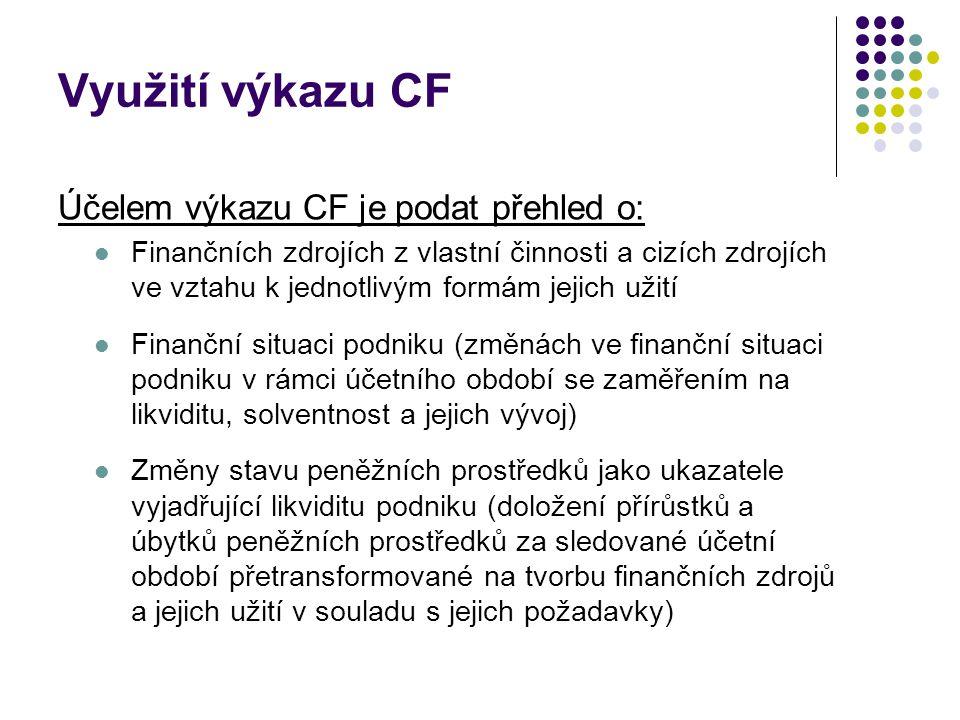 Využití výkazu CF Účelem výkazu CF je podat přehled o:  Finančních zdrojích z vlastní činnosti a cizích zdrojích ve vztahu k jednotlivým formám jejic