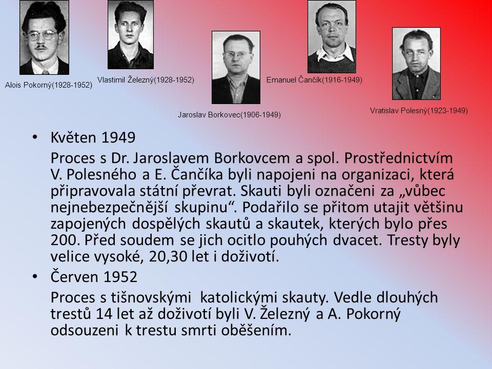 • Květen 1949 Proces s Dr. Jaroslavem Borkovcem a spol. Prostřednictvím V. Polesného a E. Čančíka byli napojeni na organizaci, která připravovala stát