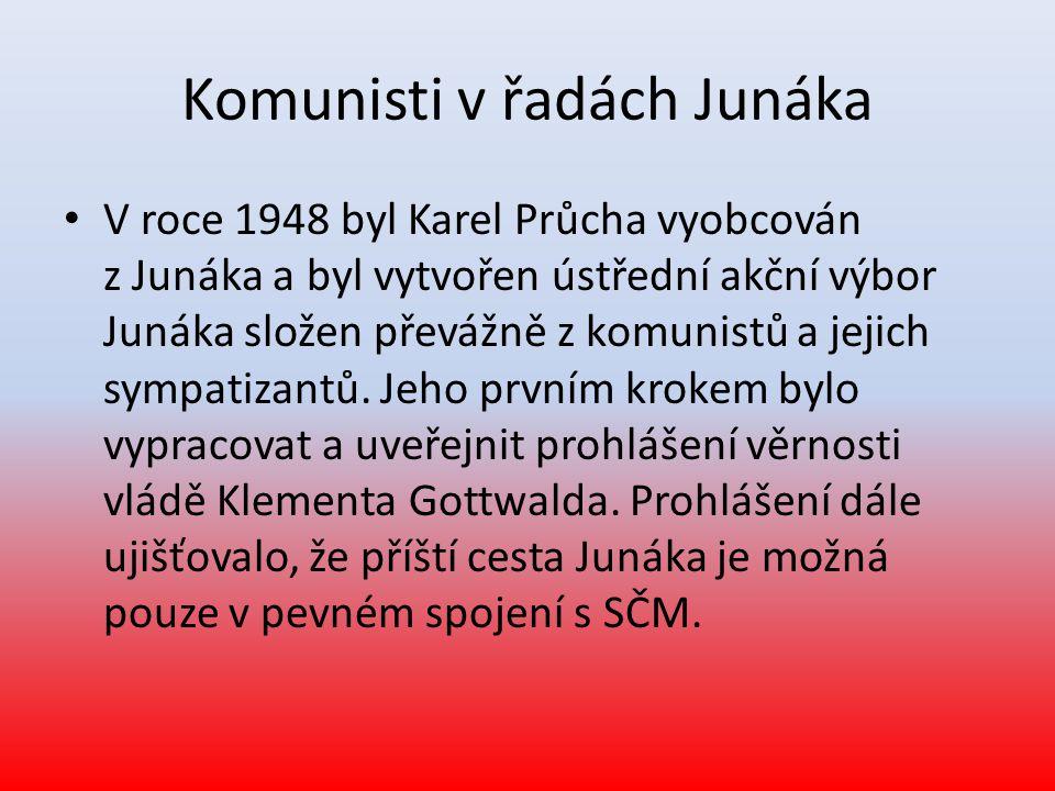 Komunisti v řadách Junáka • V roce 1948 byl Karel Průcha vyobcován z Junáka a byl vytvořen ústřední akční výbor Junáka složen převážně z komunistů a jejich sympatizantů.