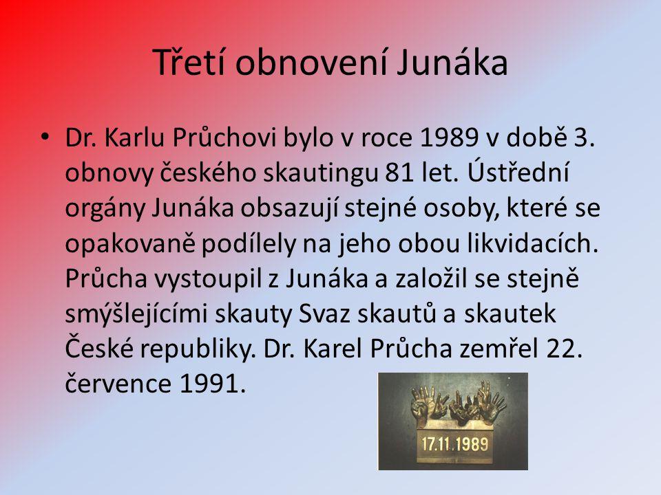 Třetí obnovení Junáka • Dr. Karlu Průchovi bylo v roce 1989 v době 3. obnovy českého skautingu 81 let. Ústřední orgány Junáka obsazují stejné osoby, k
