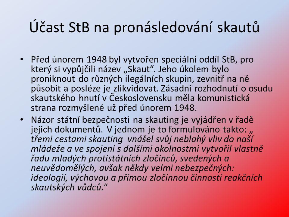 """Účast StB na pronásledování skautů • Před únorem 1948 byl vytvořen speciální oddíl StB, pro který si vypůjčili název """"Skaut"""". Jeho úkolem bylo pronikn"""
