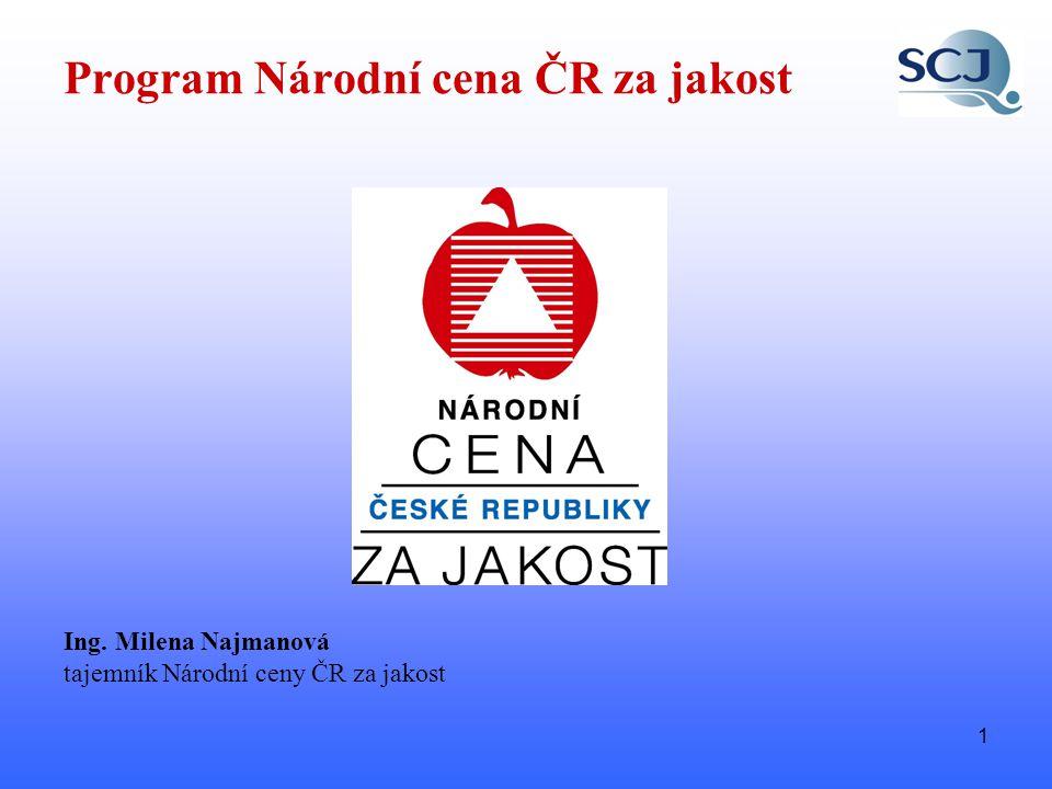 1 Ing. Milena Najmanová tajemník Národní ceny ČR za jakost Program Národní cena ČR za jakost