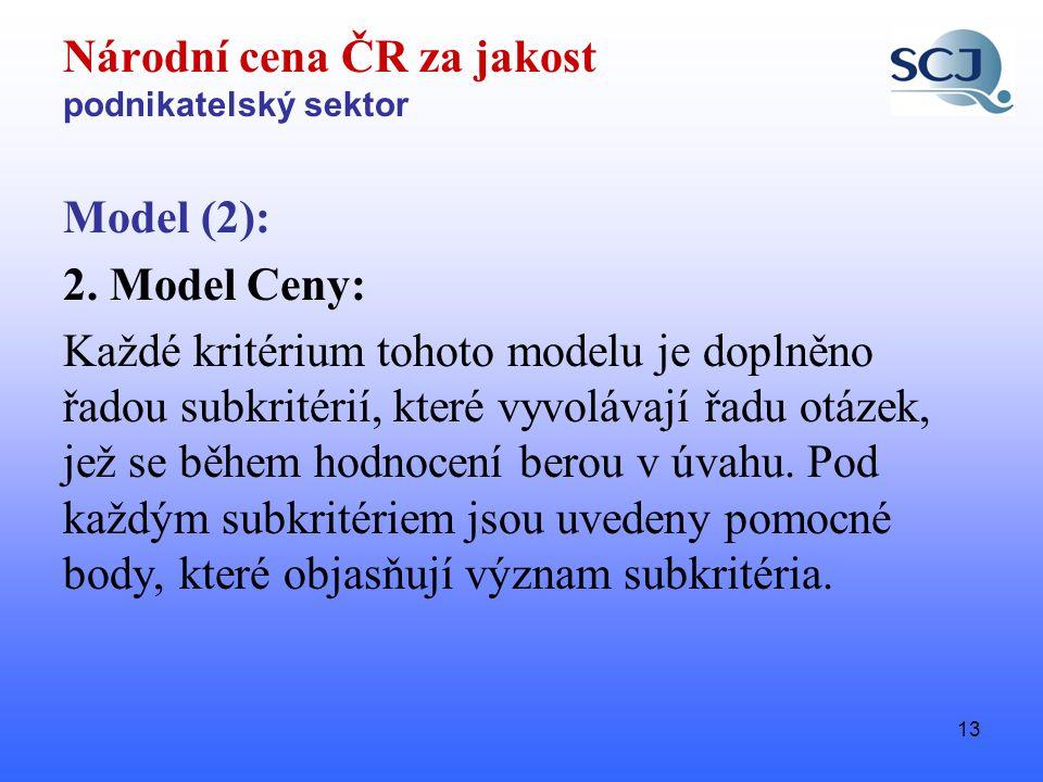 13 Národní cena ČR za jakost podnikatelský sektor Model (2): 2.
