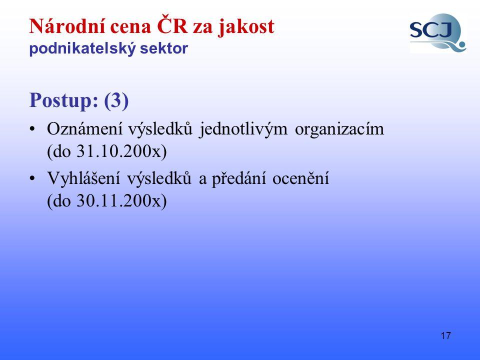 17 Národní cena ČR za jakost podnikatelský sektor Postup: (3) •Oznámení výsledků jednotlivým organizacím (do 31.10.200x) •Vyhlášení výsledků a předání ocenění (do 30.11.200x)