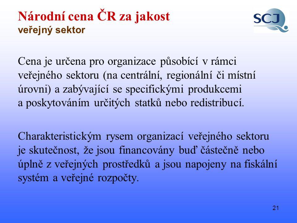 21 Národní cena ČR za jakost veřejný sektor Cena je určena pro organizace působící v rámci veřejného sektoru (na centrální, regionální či místní úrovni) a zabývající se specifickými produkcemi a poskytováním určitých statků nebo redistribucí.
