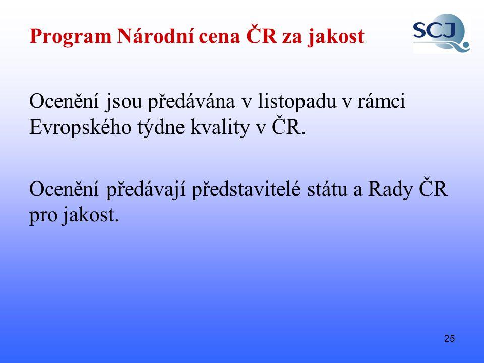 25 Program Národní cena ČR za jakost Ocenění jsou předávána v listopadu v rámci Evropského týdne kvality v ČR.