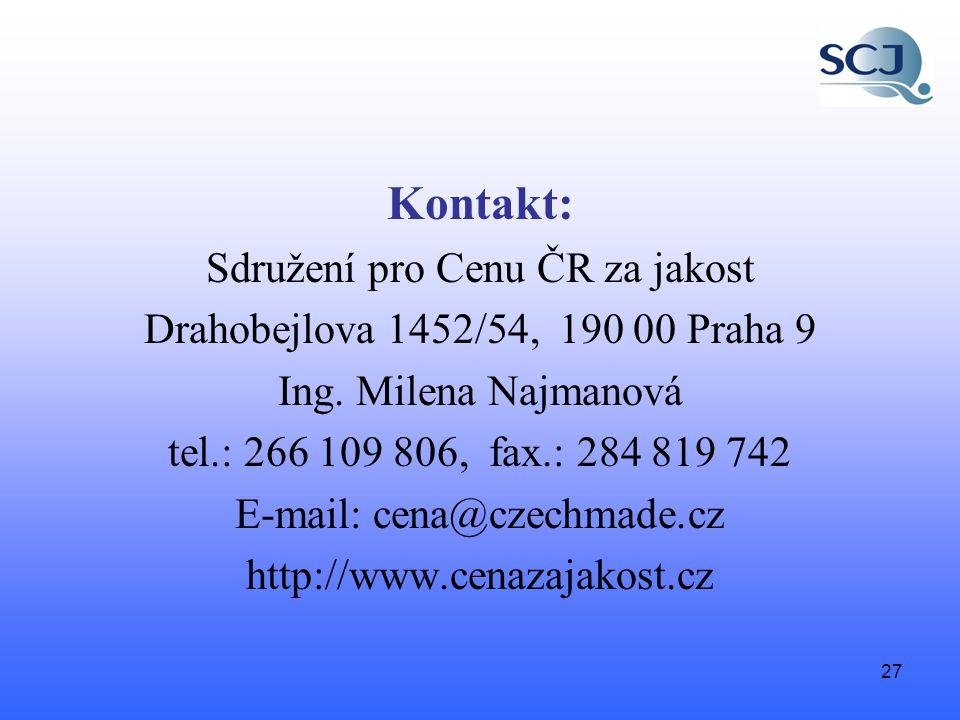 27 Kontakt: Sdružení pro Cenu ČR za jakost Drahobejlova 1452/54, 190 00 Praha 9 Ing.