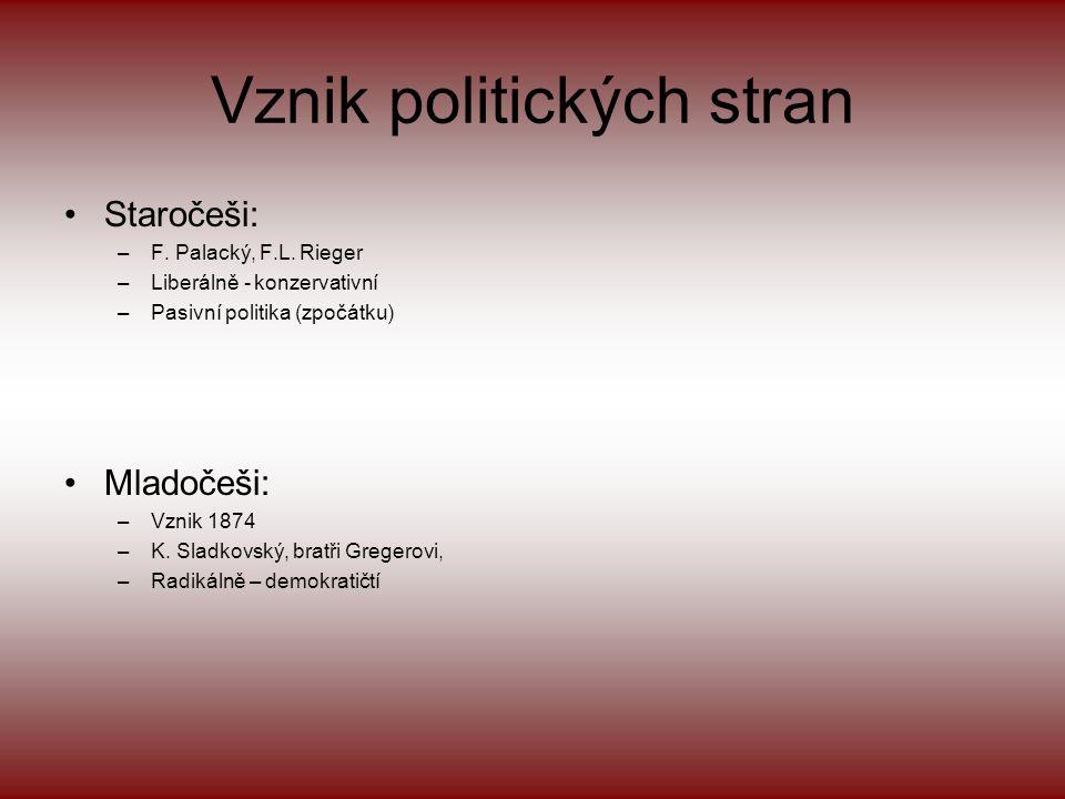 Českoněmecké vyrovnání •Fundamentálky –Fundamentálkami česká politika uznala rakousko - uherské vyrovnání a společnou správu zahraničních věcí, financ