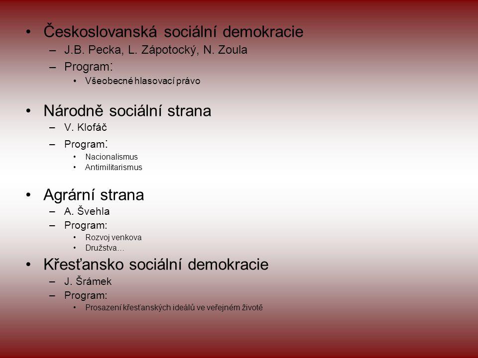 •Českoslovanská sociální demokracie –J.B.Pecka, L.