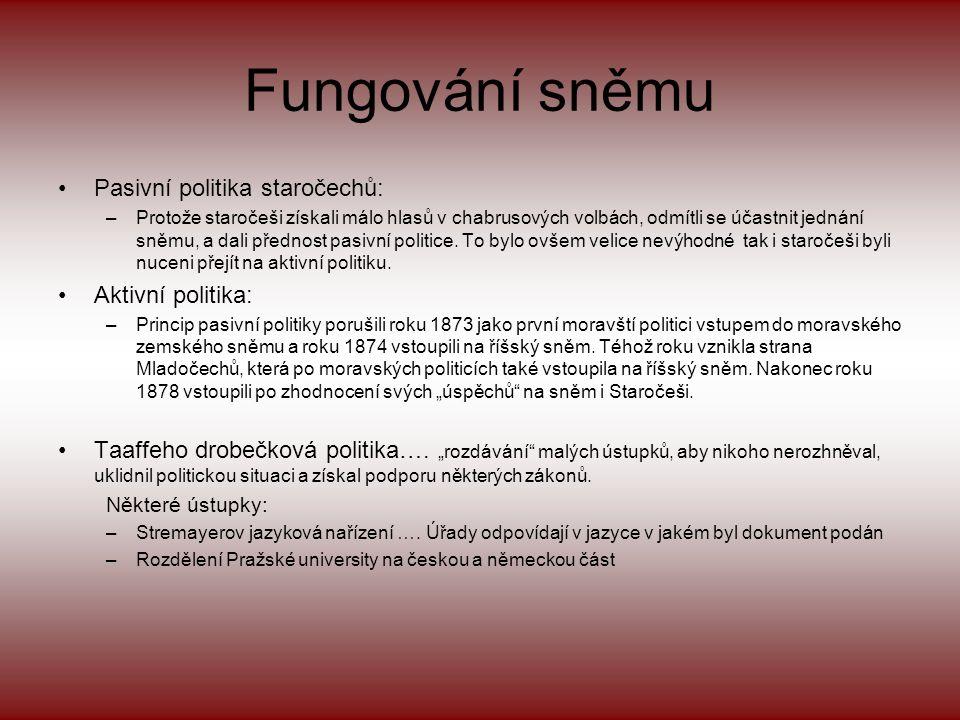 •Českoslovanská sociální demokracie –J.B. Pecka, L. Zápotocký, N. Zoula –Program : •Všeobecné hlasovací právo •Národně sociální strana –V. Klofáč –Pro