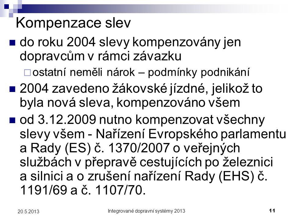 Integrované dopravní systémy 201311 20.5.2013 Kompenzace slev  do roku 2004 slevy kompenzovány jen dopravcům v rámci závazku  ostatní neměli nárok –