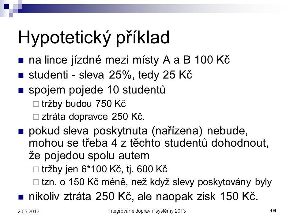 Integrované dopravní systémy 201316 20.5.2013 Hypotetický příklad  na lince jízdné mezi místy A a B 100 Kč  studenti - sleva 25%, tedy 25 Kč  spoje