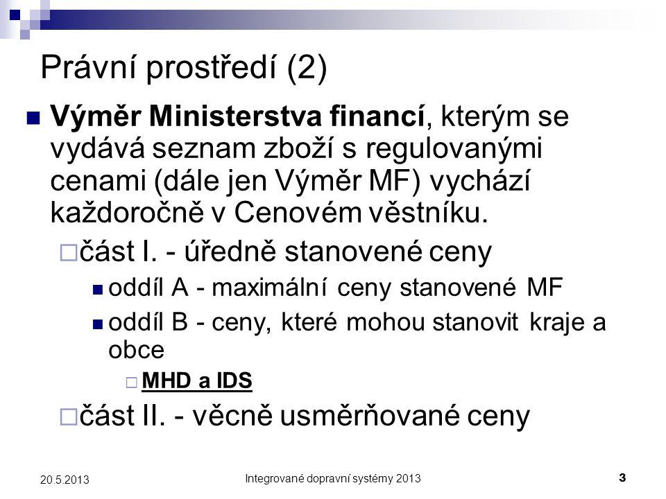 Integrované dopravní systémy 20133 20.5.2013 Právní prostředí (2)  Výměr Ministerstva financí, kterým se vydává seznam zboží s regulovanými cenami (d