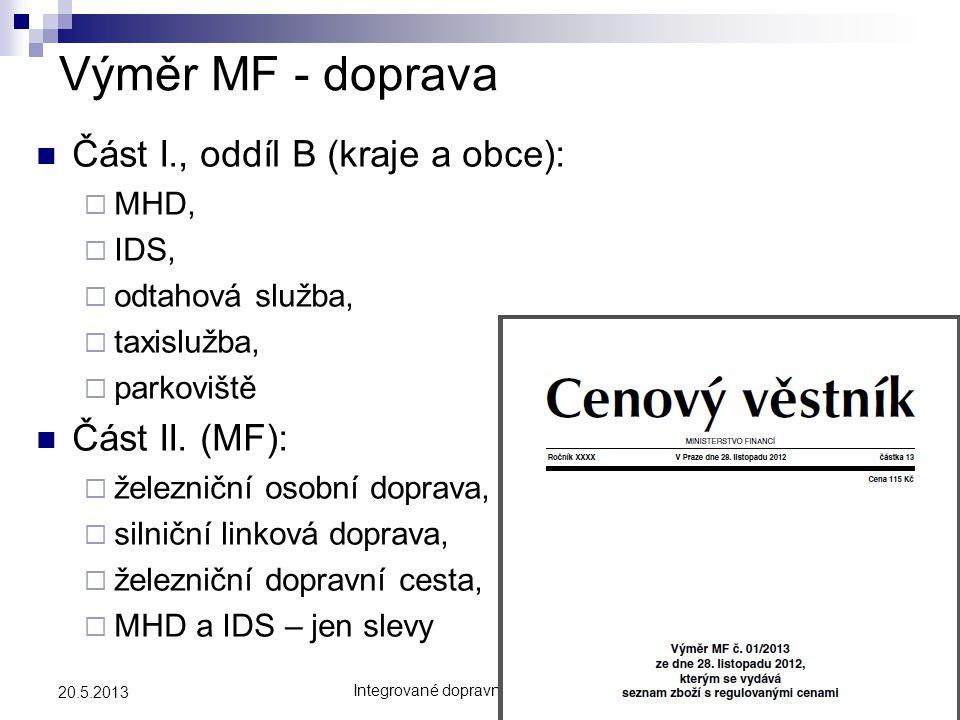 Integrované dopravní systémy 20134 20.5.2013 Výměr MF - doprava  Část I., oddíl B (kraje a obce):  MHD,  IDS,  odtahová služba,  taxislužba,  pa