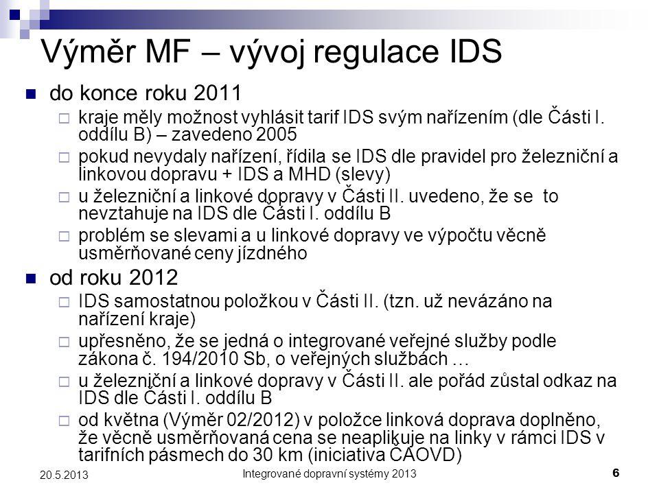 Integrované dopravní systémy 20136 20.5.2013 Výměr MF – vývoj regulace IDS  do konce roku 2011  kraje měly možnost vyhlásit tarif IDS svým nařízením